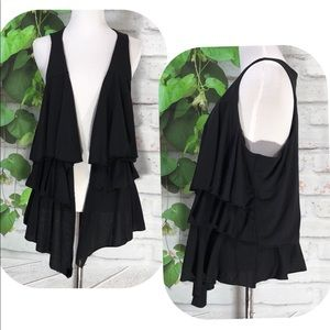 🍋TORRID Black Tiere Draped Open Cardigan Vest🍋